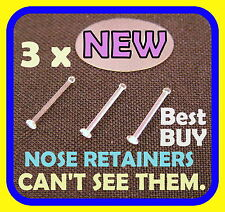 *LOOK* 3 x Clear Nose Bone Stud/Ring  Retainer-THIN 22g BEST PRICE
