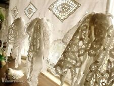 French Country Fringes Shabby Chic Vtg. Lace Kitchen Cafe Curtain Crochet White