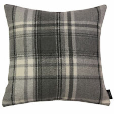 McAlister Textiles Heritage Wool Tartan Check Cushions & Covers - Charcoal Grey
