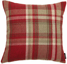 McAlister Textiles Heritage Wool Tartan Check Cushions, Pillows & Covers - Red