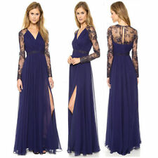 V Neck See Back Embroidery Floral Lace Chiffon Evening Gown Cocktail Maxi Dress