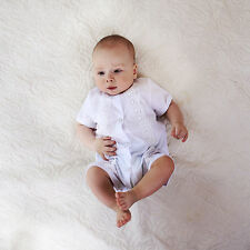 Baby Boy Bodysuit Baptism Outfit Newborn Baby Romper White Cotton Lace Outfit