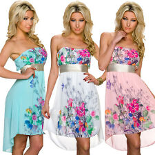 Women Bandeau Party Dress Blossoms Print Cocktail dress S 34 36 Wedding sexy