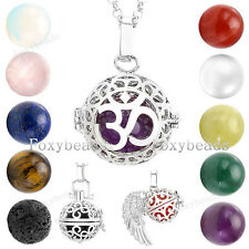 Silver Hollow Locket Natural Gemstone Lava Rock Bead Pendant Chain Necklace Gift