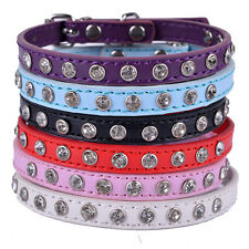 Fashion RhinestonesPu Leather Dog Collar Small Pet Necklace Dog Health Supplies