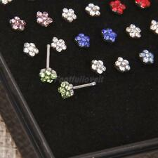 Nose Ring 24Pcs Surgical Steel Rhinestone Flower Bone Stud Body Piercing Jewelry