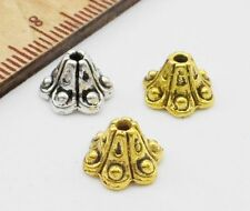 Free Ship 100/500Pcs Gold Silver Plated pattern Beads Caps 9x6mm