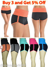 Women Ladies Two Tone Athletic Yoga Dolphin Sports Pants Shorts Lounge Gym