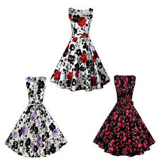 Women  Print Retro Vintage Sleeveless Party Evening Floral Casual Mini Dress