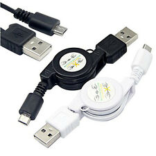 Micro USB A to USB 2.0 B Male Retractable Cable Data Sync Charger Cord Capable