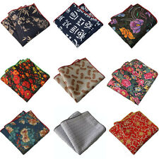 Men Colorful Floral Handkerchief Geometric Rolled Edge Pocket Square Hanky