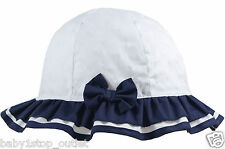 Baby Girls Pretty White & Navy Sun Hat with Bow Cotton Age 6-12 12-24 Months