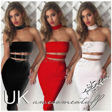 UK Womens Bodycon Bandage Party Dress Ladies Stripless Collar Dress Size 6 - 14