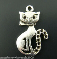 """Wholesale W09 Mixed Lots Silver Tone Cats Charms Pendants 25mmx16mm(1 x 5/8"""")"""