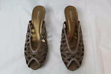 John Fashion A8646 Gold Embellished Cutout Open Pointed Toe Mules Heels New