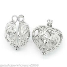 Wholesale Lots W09 Copper Charm Pendants Hollow Heart Bead Cages Silver Tone