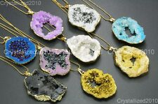 Natural Druzy Quartz Agate Geode Nugget Pendant Necklace 18K Gold Healing Beads