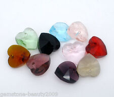 Wholesale DIY Jewelry Mixed Crystal Glass Faceted Heart Drop Charm Beads 10x10m