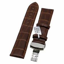 Italy Crocodile-Embossed Genuine Cow Leather Wrist Watch Band With Safety Buckle