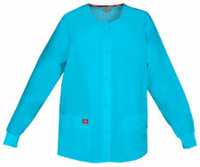 Dickies Women's Snap Front Round Neck Pockets Knit Cuffs Warm Up Jacket. 86306