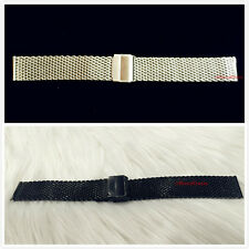 NEW 18/20/22MM BLACK/SILVER STAINLESS STEEL SHARK MESH WATCH BAND FITS SKAGEN