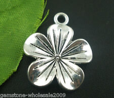 Wholesale W09 Silver Tone Lily Flower Charms Pendants Findings