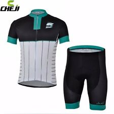 CHEJI Team Men Cycling Jersey Summer Pad Bike Bicycle Bib Shorts Set Black-Green