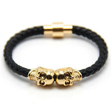 New Fashion Genuine Leather Bracelet For Man Magnetic Punk Wrap Skull Free Ship