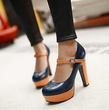 Womens Lady Party Shoes High Heel Platform Stylish Strappy Pumps Shoes US Size