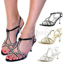 LADIES WOMENS DIAMANTE STRAPPY HEELS PROM PARTY WEDDING BRIDAL SANDALS SHOES ...