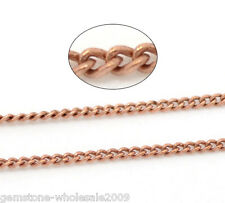 Wholesale Lots Copper Tone Link-Soldered Curb Chains Necklace Making 1x1.5mm