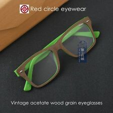 Vintage glass mens acetate wood grain eyeglasses frames women optical eyewear
