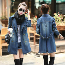 Cool Women Girl Blue Denim Trench Coat Double Breasted Outerwear Coat Jacket