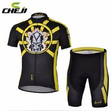 CHEJI Team Cycling Jersey Bike Short Sleeve Black-Yellow Clothing Set Bib Shorts