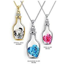 2016 Glass Wishing Bottle Pendant Love Heart Necklace Crystal Jewelry Gift XW