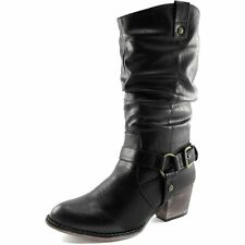 Solid Black Boots New Womens Ladies Western Cheap Cowboy Cowgirl Mid-Calf Buckle