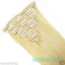 """Clip in Remy Human Hair Extensions 7PCS Full Head 80g #613 Light Blonde 15-22"""""""