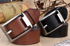 Fashion Mens Black/Brown Casual Pin Buckle Belt Faux Leather Belts Waistband FG
