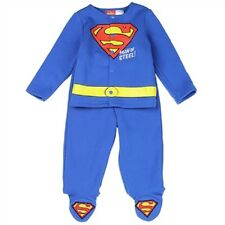 Licensed Superman Costume Baby Boys 2 Piece Embriodered Footed Fleece