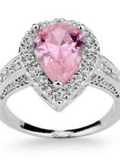 Pink Sapphire Lady's 10KT White Gold Filled Ring