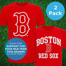 Boston Red Sox Official T-Shirt USA MLB Top Jersey Baseball Unisex 2016 2PK New