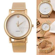 Fashion Stainless Steel Women men Mesh Quartz Wrist Watch Round Dial Quartz E33