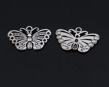 New 10/20/50pcs Retro Alloy The butterfly charm alloy Jewelry finding Pendant