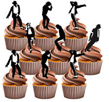 Michael Jackson Silhouettes Fun Fully Edible Birthday Cup Cake Toppers Decorati