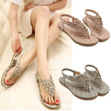 Women New Summer Bohemia Floral Beads Slippers Flip Flop Lady Flat Sandals Shoes
