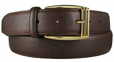 New Men's Dressy Marco Valentino Genuine Striped Leather Brown Belt Gold Buckle