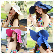 Fashion Big brim hat Lady Sun hat big bowknot Summer Straw hat