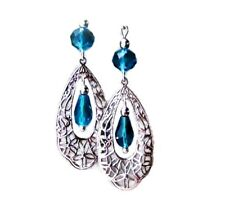 Teal Blue Green earrings Crystal and silver filigree clip on or pierced fittings