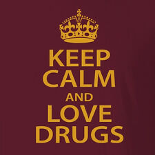New Comfy Drug T-shirt Keep Calm And Love Drugs Rave Festival Clothing dub step