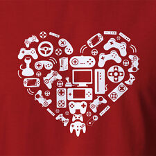 New Video Game Heart T-shirt Awesome Nerd Geek Clothing Xbox PS Controller
